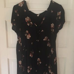 Laced Front Floral Dress